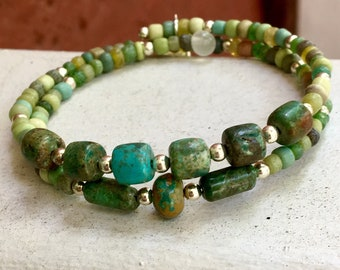 Turquoise Stone Beaded Wrap Bracelet, Double Stack with Rustic Mixed Glass Beads, Steel Coil Memory Cuff Easy On & Easy Off, WillOaks Studio