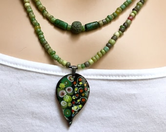 Unique Colorful Leaf-shaped Copper Enameled Pendant, Handmade Shades of Nature Necklace, Beaded Layered, Artisan Enamel Jewelry, Ship Ready