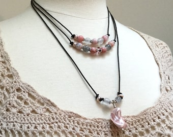 Pink Shell and Pearl Necklace, Multistrand Layered Leather Pendant and Choker, Leather Layers Necklace, Easy Versatile Original Art Jewelry
