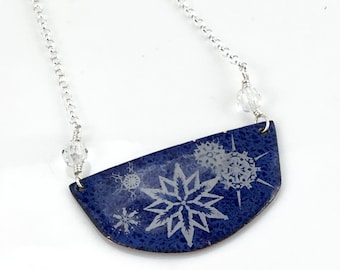 Snowflakes on Blue Bar Copper Enameled Jewelry, Snowy Night, Snow Bar Pendant, Her Beautiful Handmade Gift, WillOaksStudio, Ready to Ship