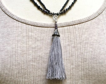Beaded Long Necklace Chain in Dark Gray Glass & Peacock Gray Pearls, Handmade Pale Gray Silk Tassel, Versatile Boho Fashion, Gift for Mother