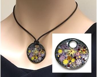 Handmade Copper Enameled Pendant, Impressionist Pastel Flower Garden, Kiln Fired Vitreous Enamel, Ready to Mail, Beautiful Gift for Her