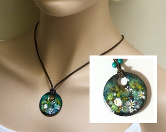 Handmade Copper Enamel Pendant and Crocheted Silk Chain, Impressionist Teal Flower Garden, Enameled Jewelry, Ready to Mail Gift for Her