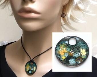 Copper Enamel Jewelry, Impressionist Art Pendant, Flower Garden in Teal and Yellow, Kiln Fired Glass Enamel on Handmade Copper Pendant