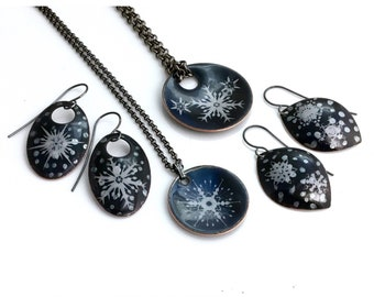 Snowflakes on Dark Blue Copper Enameled Jewelry, Snowy Night, Snow Earrings & Pendants, Handmade Beautiful Gift for Her, WillOaksStudio