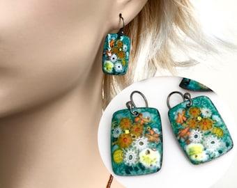 Copper Enameled Earrings, Art Jewelry Dangles, Citrus Colors on Green, Artisan Original, Vitreous Enamel, willOaks Studio