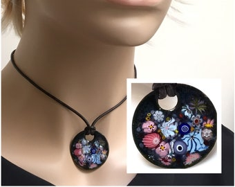 Copper Enameled Flower Art Pendant, Joyful Impressionist Garden in Pink and Blue, Kiln Fired Glass Enamel on Handmade Metal Pendant