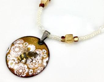 Honey Bee OOAK Art Pendant, Reversible White & Golden Hand Enameled Long Beaded Necklace, WillOaksStudio Series, Ready to Ship Gift For Her
