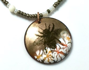 Honey Bee OOAK Enameled Pendant, Golden & White Long Beaded Necklace, WillOaksStudio Beautiful Bee Series, Ready to Ship Gift For Her