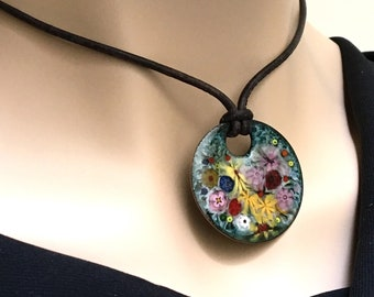 Handmade Enamel Jewelry, Enameled Copper Pendant, Colorful Flowers Art Jewelry, Ready to Mail, Unique Gift for Her