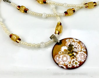 Honey Bee OOAK Art Pendant, White and Golden Hand Enameled Long Beaded Necklace, WillOaksStudio Bee Series, Ready to Ship Gift For Her