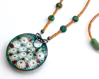 Green & White Copper Enamel Art Flower Pendant, Garden Art Enameled Jewelry, One of a Kind Art Pendant, Ready to Mail Spring Gift for Her
