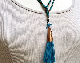 Long Beaded Necklace with Handmade Silk Tassel, Turquoise Beads and Carnelian Red Glass Wrap Chain, Silk Tassel with a Handmade Copper Cone