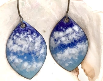 Petite Skyscape Enameled Earrings, Blue & White Copper Enamel Dangles with Sterling Silver Earwires, Cloud Watching Art Earrings
