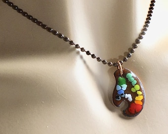 Painters Palettes Pendants, Copper Enamel Necklace for Artist & Art Appreciator, Copper Chain Choice, OOAK Unisex Gift, WillOaks Original