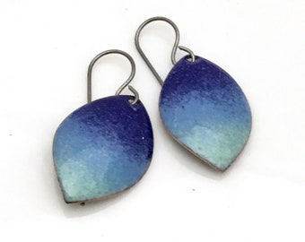 Blue Sky Enameled Earrings, Small Leaf Shapes, Gradient Sky Color, Sky Watching, Petite Blue Dangles, Oxidized Sterling Ear wires