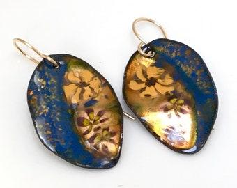 Enameled Earrings Navy Blue & Gold Leaves, Enamel Jewelry, Copper Leaf Dangles, Handmade Glass Enamel Leaves, Copper Enamel, Ready to Mail