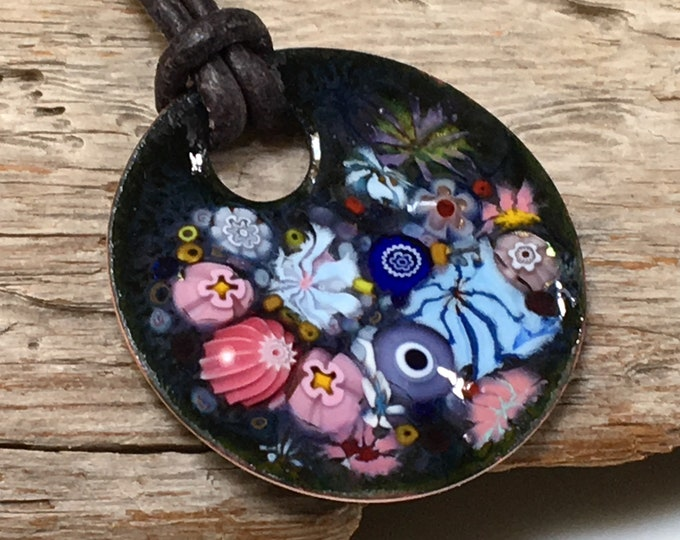 Featured listing image: Copper Enameled Flower Art Pendant, Joyful Impressionist Garden in Pink and Blue, Kiln Fired Glass Enamel on Handmade Metal Pendant