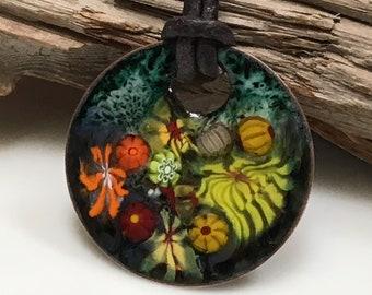 Yellow & Orange Copper Enamel Pendant, Colorful Garden Jewelry, Glass Enameled Abstract Flowers, Original Gift for Her, WillOaks Studio
