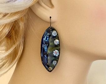 Long Leaf Enameled Statement Earrings, Blue Earrings, Copper Enamel Dangles, Handmade One of a Kind Art Earrings, Outstanding Gift for Her