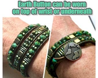 Earthday Three Wrap Cuff, Glass & Leather Woven Cuff, Earth Day Eco Turquoise Bracelet, Original WillOaks Studio Artisan Jewelry