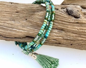 Sage Green Glass and Fancy Jasper Beaded Triple Wrap Bracelet, Nature Inspired Steel Coil Memory Cuff, Easy On and Easy Off, WillOaks Studio