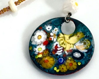 Colorful Floral Copper Enameled Pendant on a Long Beaded Chain, Yellow and Amber, Art Enamel Jewelry, WillOaksStudio, Ready to Ship Gift