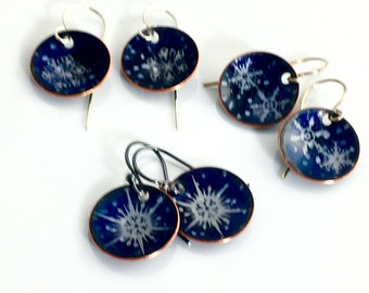 Snowflakes on Petite Dark Blue Dangles, Original Copper Enameled Earrings, Snowy Winter Enamel Jewelry, Handmade Beautiful Gift for Her