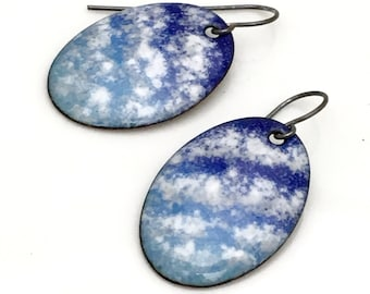 Blue Enamel Earrings, Large Oval Skyscape Dangles, Blue Sky White Scattered Clouds Original, Handmade Hot Glass Enamel, Art Earrings