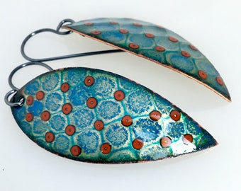 Teal Leaf and Red Dots, Enameled Dangle Earrings, Glass Enamel on Copper with Sterling Earwires, Original Gift for Her, Ready to Mail