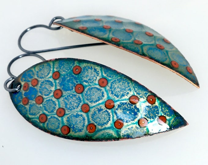 Featured listing image: Teal Leaf and Red Dots, Enameled Dangle Earrings, Glass Enamel on Copper with Sterling Earwires, Original Gift for Her, Ready to Mail