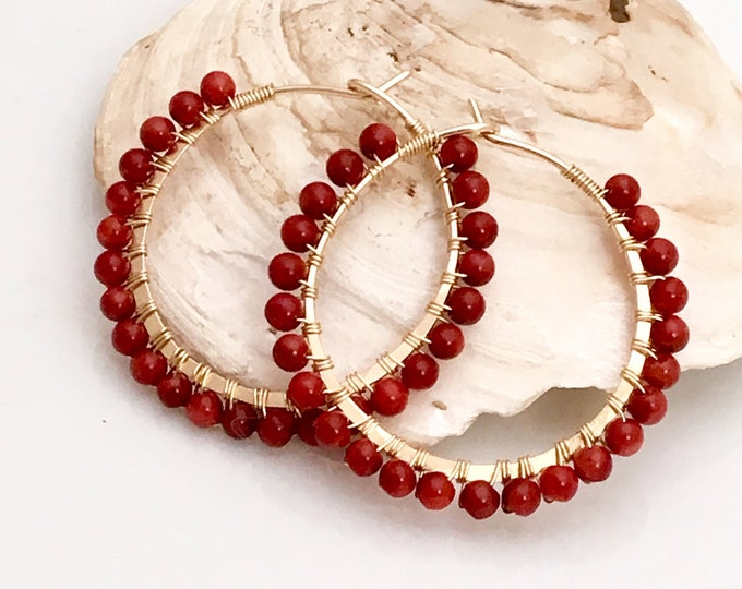 Featured listing image: Red Coral Hoops, Handmade Beaded Petite Earrings in Red and Gold, Red Hoop Earrings, Cardinal Red, Gift for Her, Fashion Classic