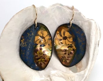 Enameled Earrings Navy Blue & Gold Leaves, Enamel Jewelry, Copper Leaf Dangles, Handmade Glass Enamel Leaves, Copper Enamel, Ready to Mail