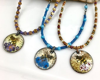 Enamel Art Pendants on Long Chains, Honey Bee Reversible Necklaces, Czech or Vintage Glass Beads, Metal Chain, Nature Pendant, Gift for Her