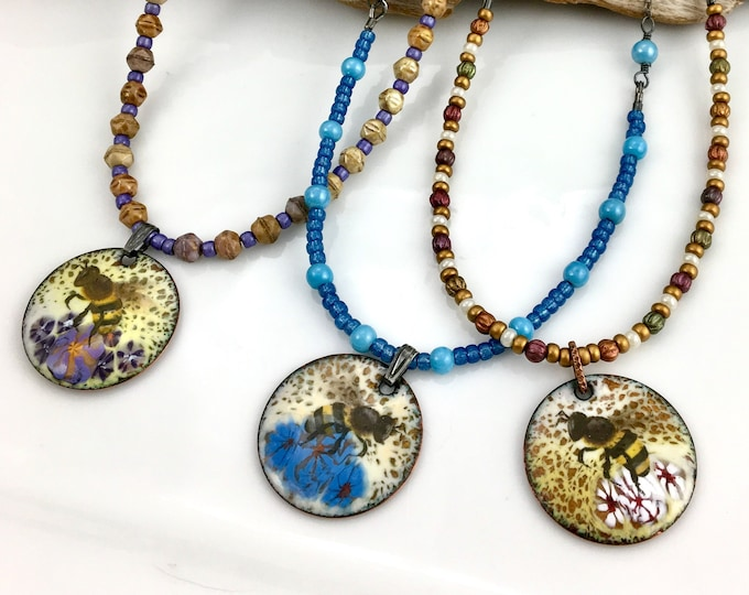 Featured listing image: Honey Bee Reversible Necklaces, Enamel Art Pendants on Long Chains, Czech or Vintage Glass Beads, Metal Chain, Nature Pendant, Gift for Her