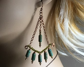 Copper & Turquoise Hippie Chandelier Earrings, Artisan Handmade Boho Originals, Lightweight Long Dangle Earrings, Gift for Her