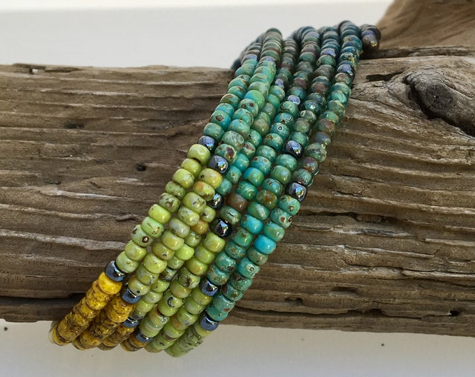 Featured listing image: Rustic Prism Multicolor Glass Wrap Cuff, Boho Muted Rainbow, Oval Steel Memory Bracelet, Easy On Off, Art Jewelry Cuff By WillOaksStudio