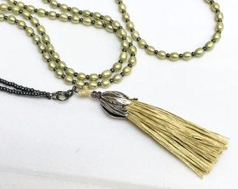 Long Pearl Beaded Necklace in Pastel Pear Green, Handmade Big Tassel of Artisan Hand Dyed Silk Fiber, Versatile Wrap Bracelet or Necklace