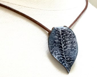 Blue Enamel Leaf Choker, Dark Blue Copper Enameled Necklace, Brown Leather Art Jewelry, OOAK, WillOaksStudio, Nature Inspired, Ready to Mail