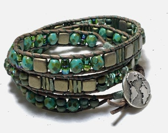 Three Wrap Glass & Leather Woven Cuff, Earth Day Inspired Turquoise and Bronze Bracelet, Original WillOaks Studio Artisan Jewelry, Free Ship