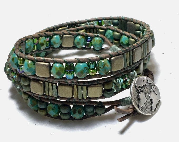 Featured listing image: Three Wrap Glass & Leather Woven Cuff, Earth Day Inspired Turquoise and Bronze Bracelet, Original WillOaks Studio Artisan Jewelry, Free Ship