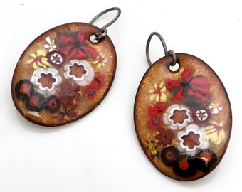 Elegant Enamel Earrings, Copper Enameled Jewelry, Gold Red & Black Floral Design, Chinese Scroll Inspired, Hand Crafted Vitreous Enamel