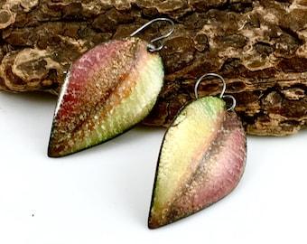 Enameled Copper Leaf Earrings, Bright Golden Brown Leaves with Dark Drawings, Enamel Dangle Earrings, Nature Inspired Art Jewelry