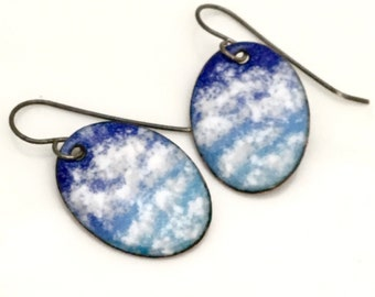 Sky Image Dangle Earrings, Cloud Watching, Small Oval Copper Enamel Earrings, Blue & White, Beautiful Original Artisan Handmade