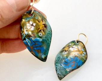 Copper Enamel Leaf Earrings with Gold and Blues, Abstracted Dreamy Floral Design, Hand Painted Enameled Art Jewelry, WillOaks Gift for Her
