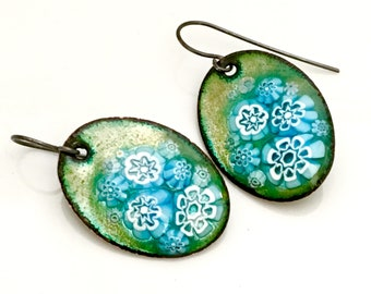 Soft Teal Blue Copper Enamel Earrings, Blue & White Flower Dangles, One of a Kind Artisan Handmade Earrings, Original Gift for Her
