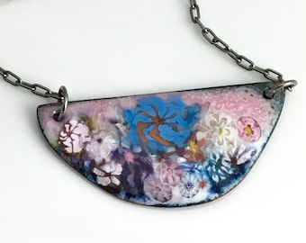 Enameled Necklace, Pink and Blue Flower Garden Bar Pendant, One of a Kind Copper Enamel, Original Florals, Gardener's Gift, Ready to Mail
