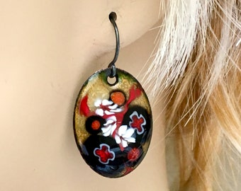 Copper Enamel Earrings, Black Gold and Red Flower Design, Handmade Art Earrings, Beautiful Gift for Her, Original, OOAK, WillOaksStudio