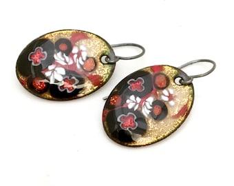 Copper Enamel Earrings, Black Gold and Red Flower Design, Handmade Art Earrings, Beautiful Gift for Her, Original, OOAK, WillOaksStudio