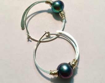 Sterling Silver Hoops and Large Freshwater Pearls, Hand Forged Hoop Earrings with a Flourish, Artisan Pearls for June Birthstone